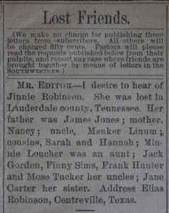 """Lost Friends"" November 18, 1880 in the Southern Christian Advocate"